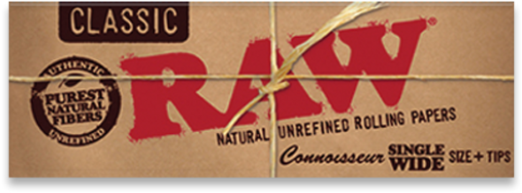 RAW Classic Connoisseur Single Wide Rolling Papers + Tips