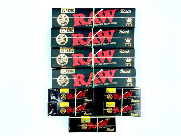 RAW Classic Black King Size Slim Rolling Papers + Black Tips Package