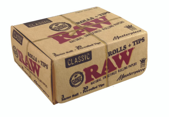 RAW Classic King Size Roll Rolling Papers +Pre-Rolled Tips