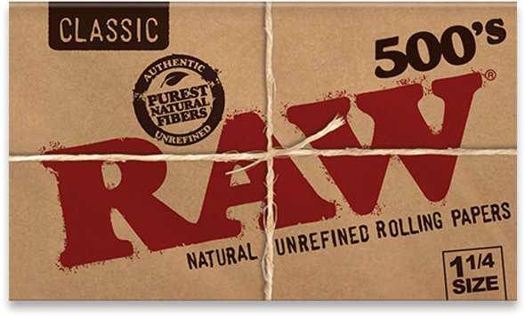 RAW Classic 500's 1-1/4 Creaseless Rolling Papers