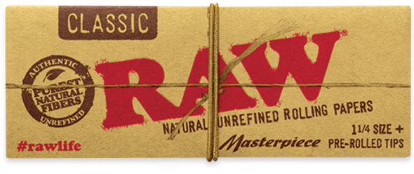 RAW Classic Connoisseur 1-1/4 Rolling Papers + Pre-Rolled Tips