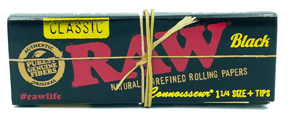 RAW Classic Black Connoisseur 1-1/4 Rolling Papers + Tips