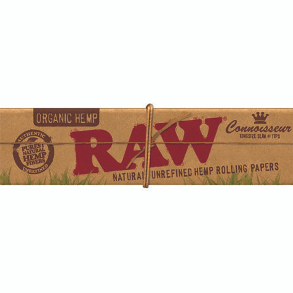 RAW Organic Hemp Connoisseur King Size Slim Rolling Papers + Tips