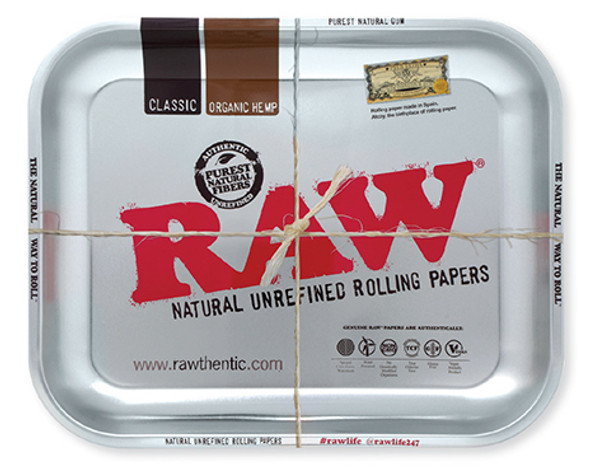 RAW Silver Metal Rolling Tray Large