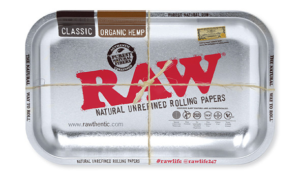 RAW Silver Metal Rolling Tray Small
