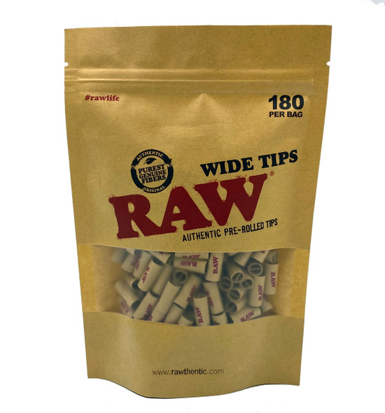 RAW Wide Tips Pre-Rolled 180 Per Bag