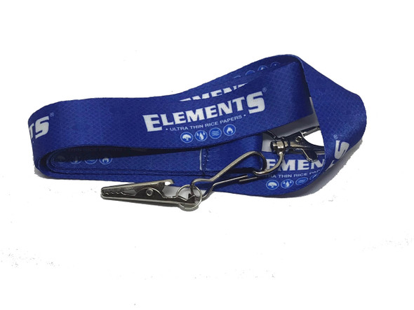 ELEMENTS Rolling Papers Blue Lanyard Key-Chain with Alligator Clip