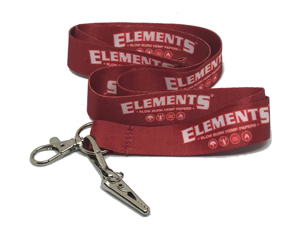 ELEMENTS Rolling Papers Red Lanyard Key-Chain with Alligator Clip