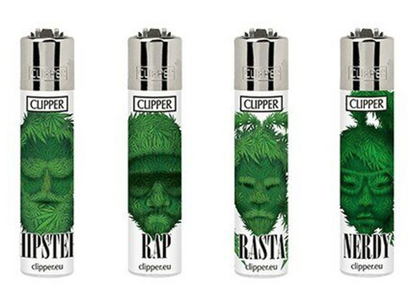 Clipper Micro Mini Lighter Weed Silhouettes Set of 4