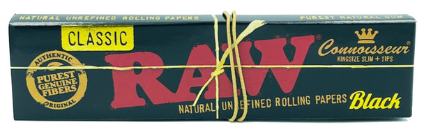 RAW Classic Black Connoisseur King Size Slim Rolling Papers + Tips