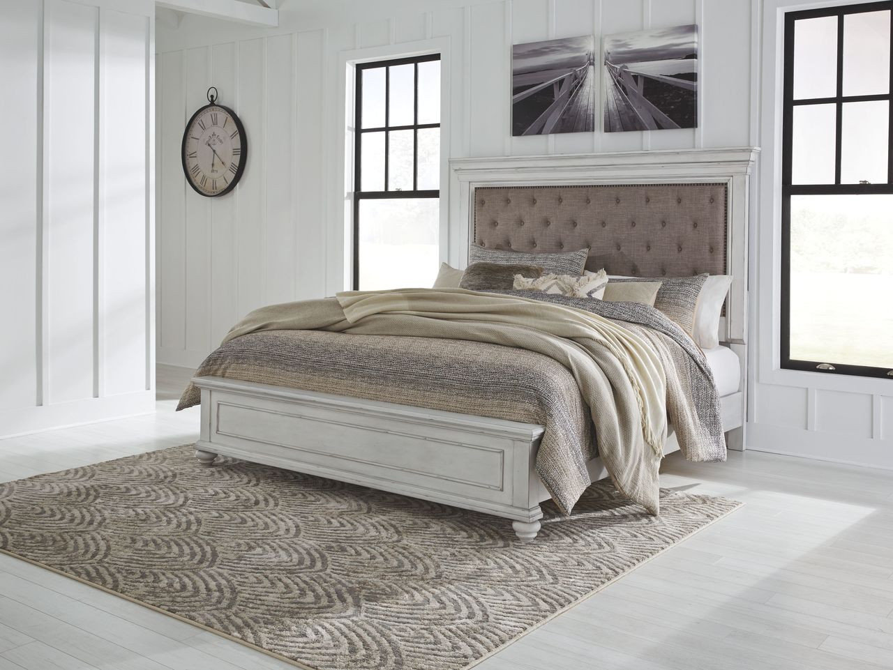 Picture of: The Kanwyn Whitewash Queen Panel Upholstered Bed Available At Hometown Furnishings Retail Rent To Own Serving Brockton And Taunton Ma