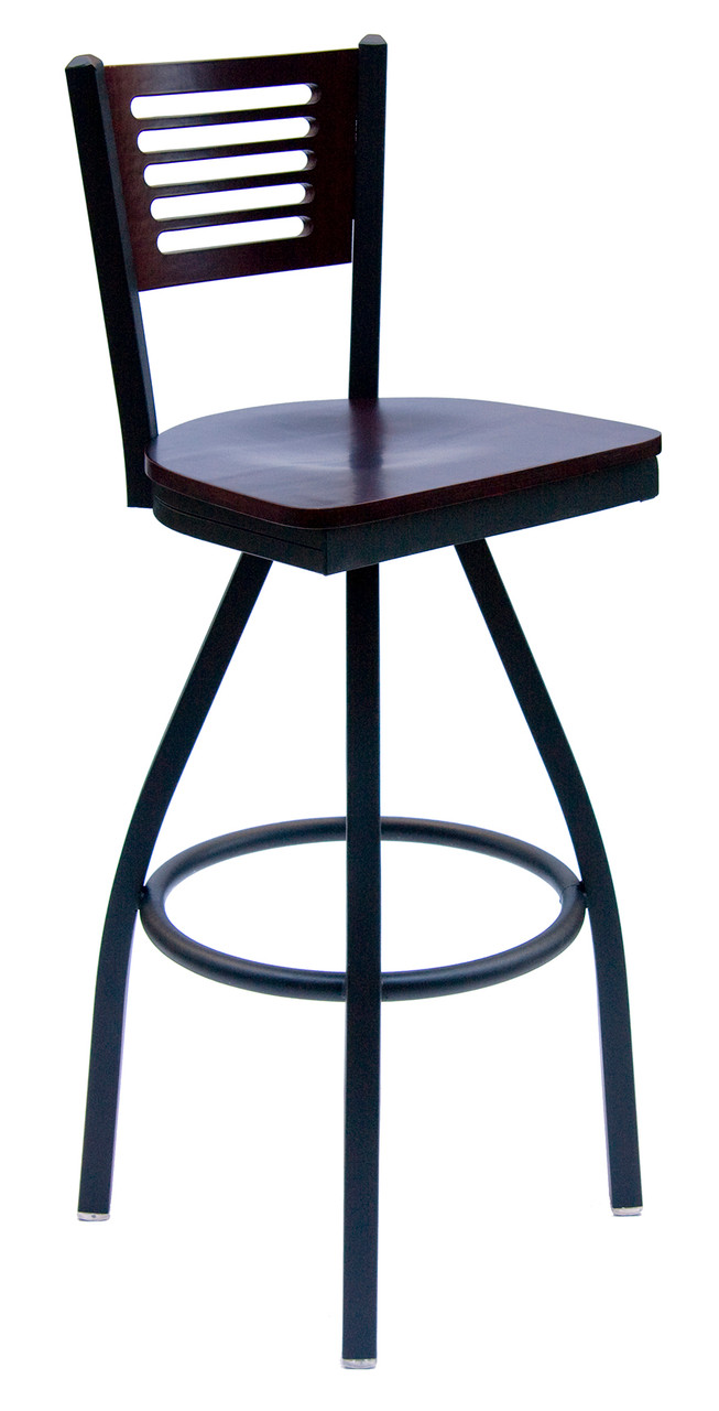 Picture of: Espy Black Metal Frame Swivel Bar Stool With Slotted Wood Back And Choice Of Seat Bfm Seating