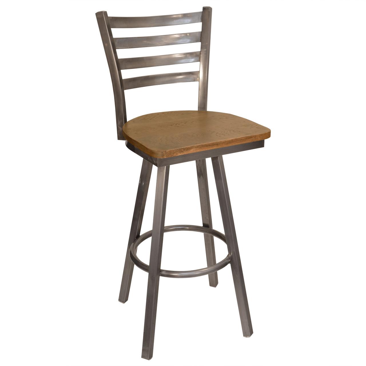 Gladiator 101sbs Clear Coat Swivel Metal Bar Stool W Rustic Wood Seat