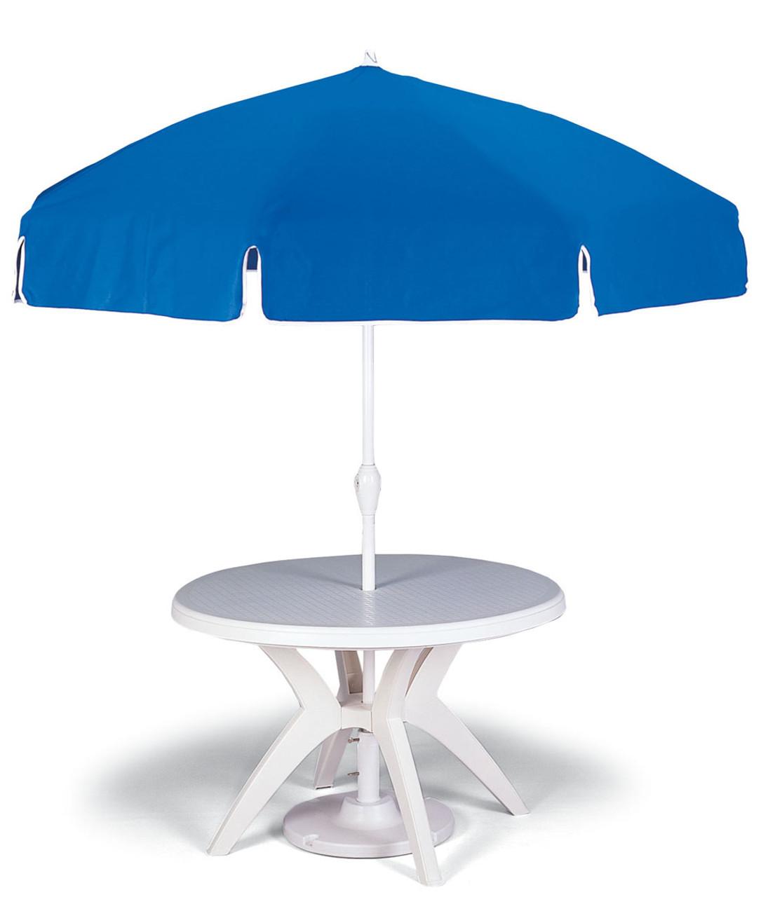 46 Round White Outdoor Resin Ibiza Restaurant Pedestal Table With Umbrella Hole Grosfillex
