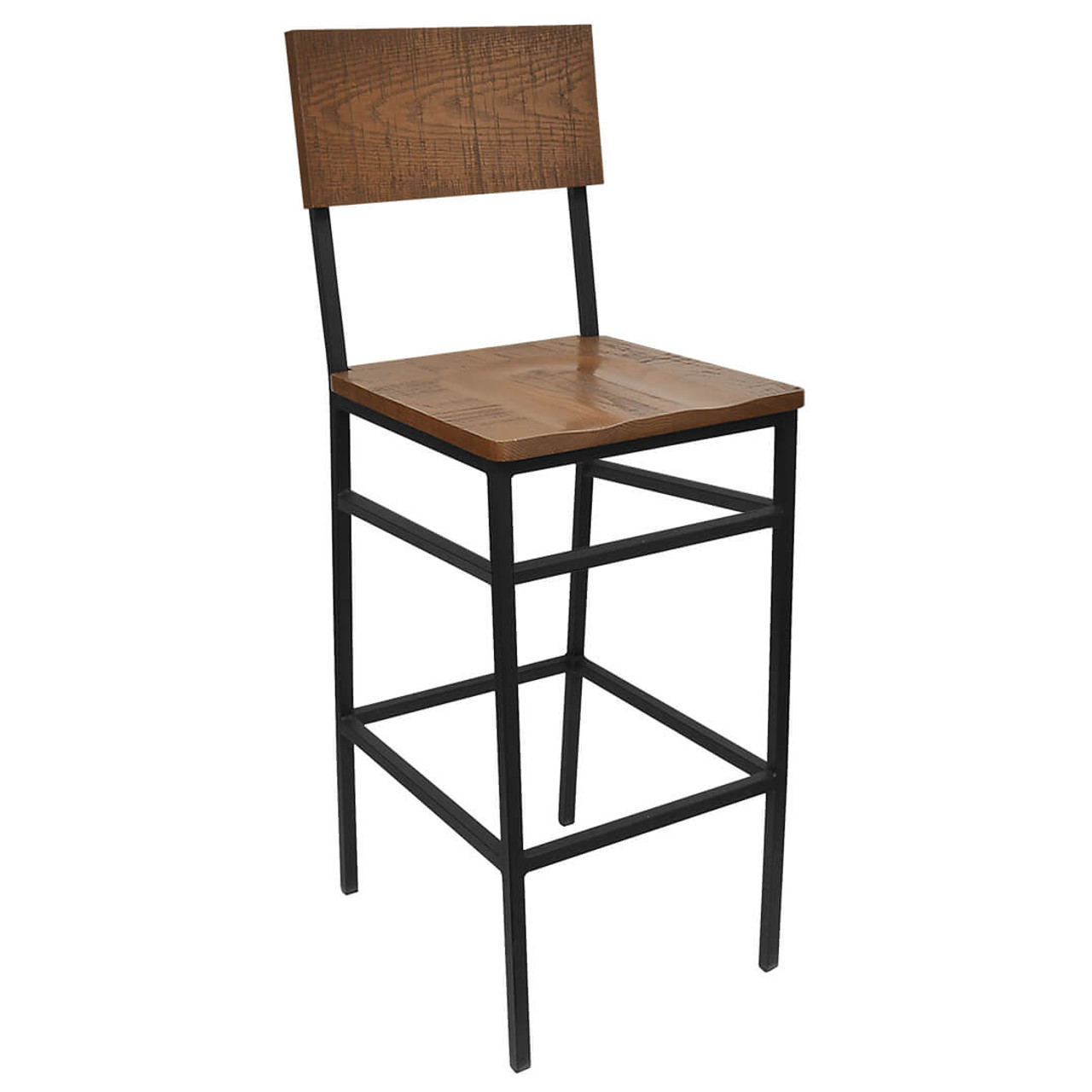 Image of: Henry Collection Steel Bar Stool W Distressed Wood Seat And Back