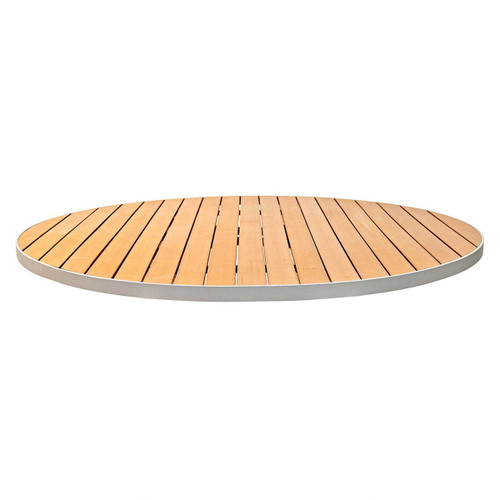 Faux Teak Outdoor Round Table Top With Choice Of Aluminum Edge Florida Seating