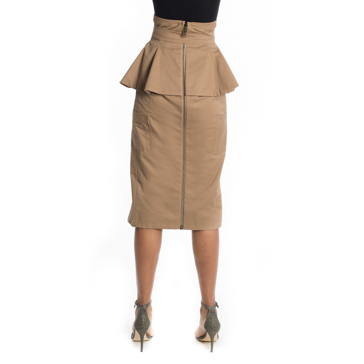 Khaki Belted High Slit Skirt