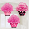 Deluxe Cupcake Fluffy Decorations Pink & Dots (3)