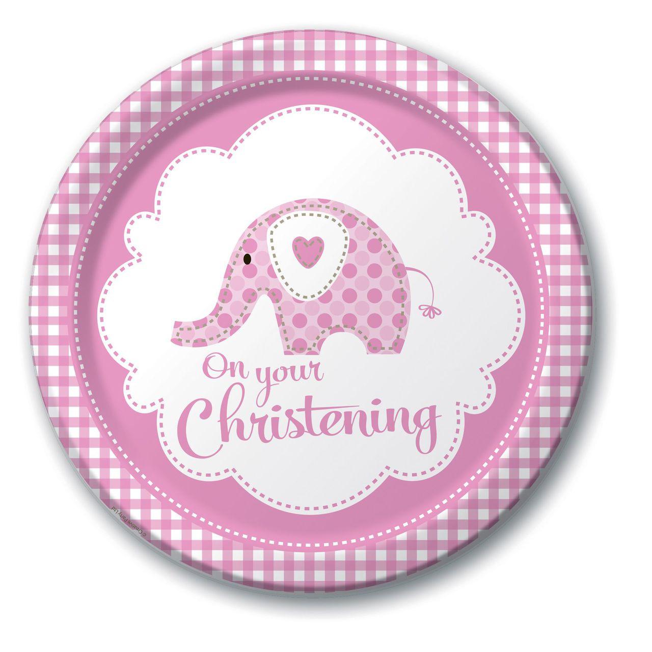 Girl Christening Elephant Dinner Party Plates 20