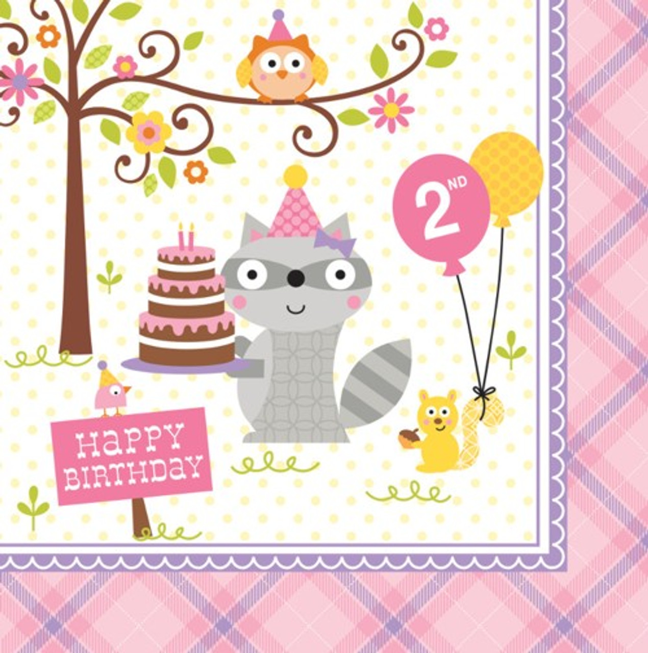 Happi Woodland Girl 2nd Birthday Napkins 16