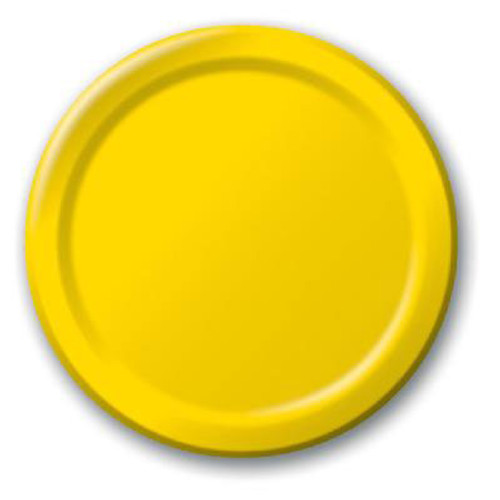 Solid Coloured Yellow Paper Plates (8)