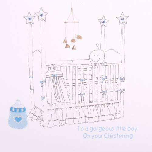 Christening baby Boy In Cot greeting Card