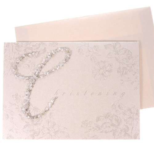 Christening Sequin Greeting Card