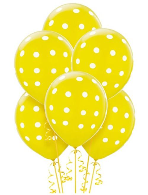 Yellow Big Dots Latex Balloons (6)