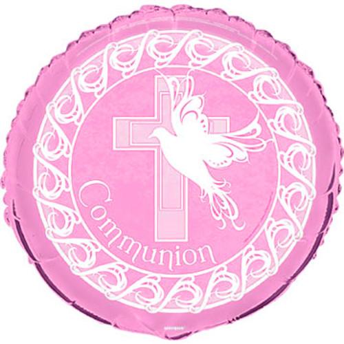 Dove Cross Communion Pink Foil Balloon