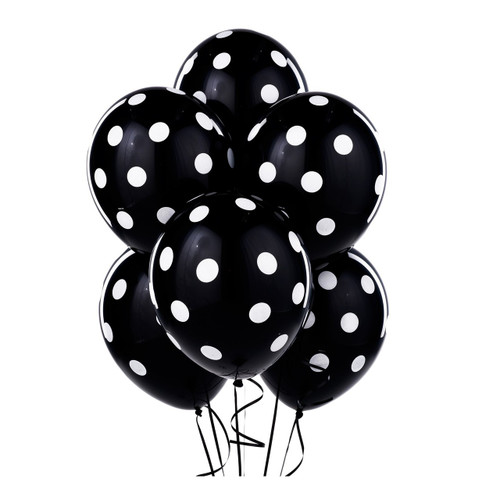 Black Big Dots Latex Balloons (6)