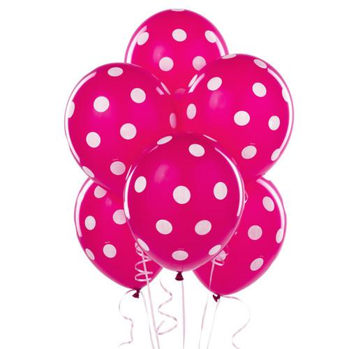 Pink Big Dots Latex Balloons (6)
