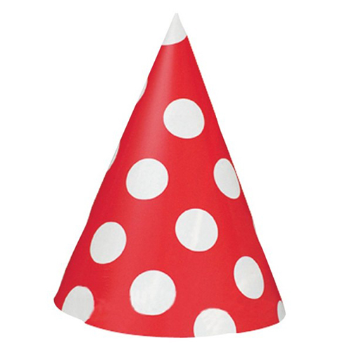 Red Big Dots Party Hat (8)