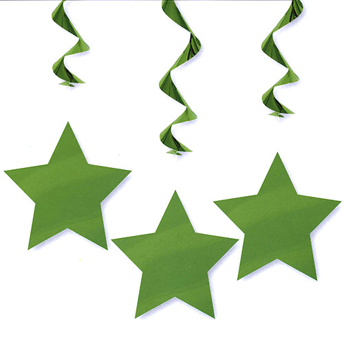 Hanging Star Decorations In Green (3)