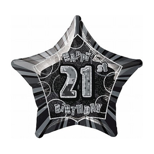 21st Glitzy Black & Silver Foil Balloon (20in)