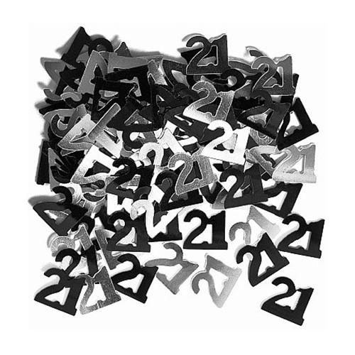 21st Glitzy Black & Silver Confetti