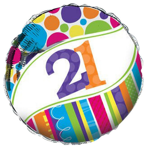 Bright And Bold 21st Foil Balloon (18 Inch)