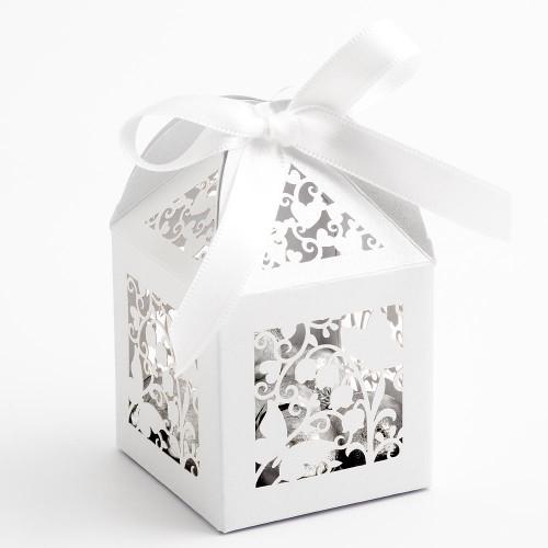Filigree Butterfly White Favor Box (10)