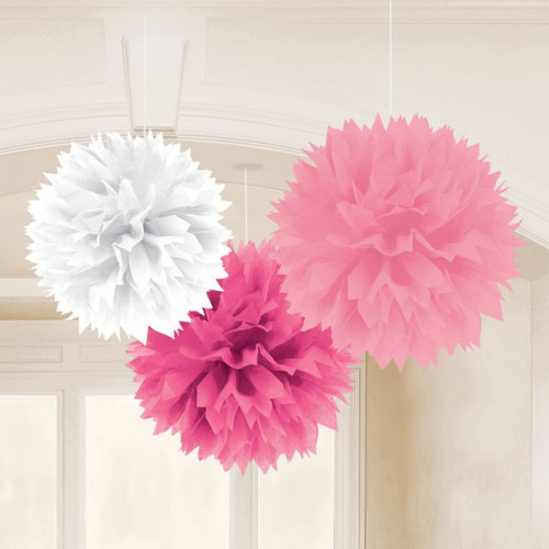 Pink and white  Fluffy Tissue Decorations (3)