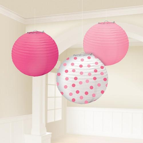 Round Pink polka dot Paper Lantern set  (3)