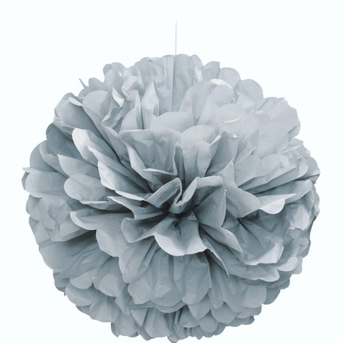 Paper Puff Ball Decoration In Silver (1)