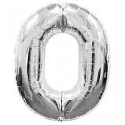 Silver Number 0 Air-Filled Foil Balloon (14inch)