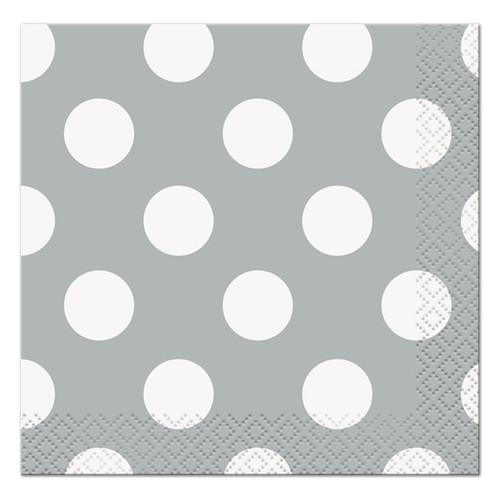 Silver polka dot Lunch Napkins (16)