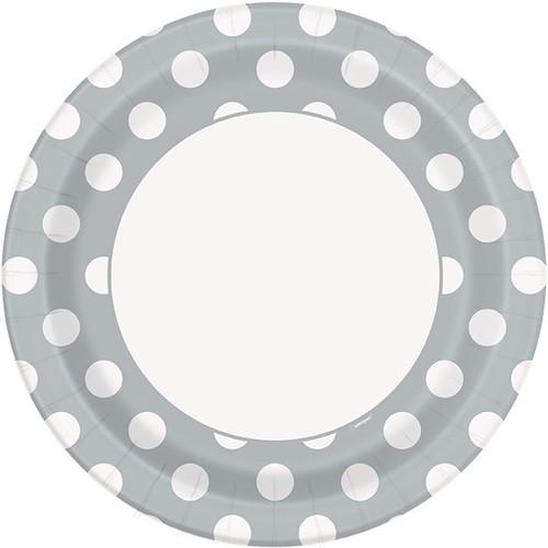 Silver polka dot plates (8)
