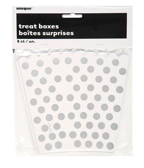Silver polka dot treat boxes (8)