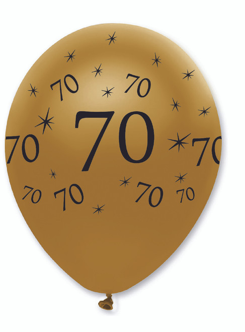 70th Black And Gold Latex Balloons 6