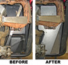 Before and After, viewed from rear (with right rear tire removed)