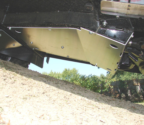 Center Skid Plate - installed, viewed from side/below