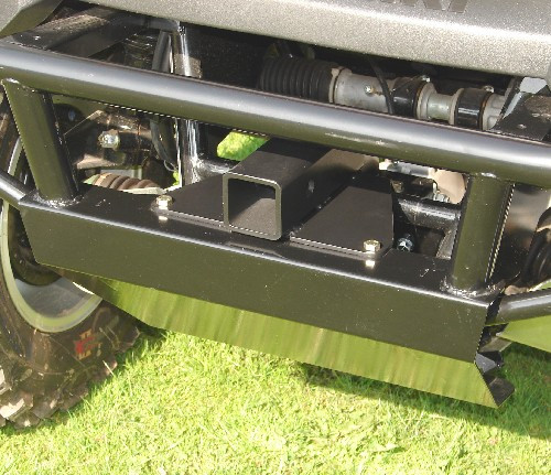 "Front 2"" Receiver Hitch, installed with Thunderhawk front bumper (please note: hitch in photo is old design, receiver tube does not have current-design reinforcing ring)"