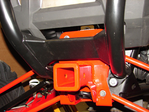 Hitch; installed with Polaris rear bumper (Red only for photo clarity, parts ordered will be Black)