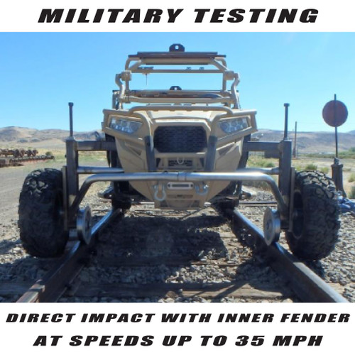 Thunderhawk passes military testing.  RZR run at speeds up to 35 MPH into hardwood dowels mounted to RR ties.